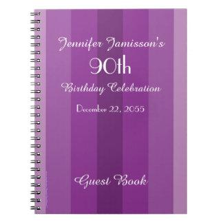 90th Birthday Party Guest Book Purple Stripe Spiral Notebook