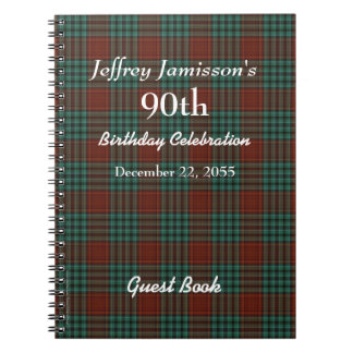 90th Birthday Party Guest Book Red & Green Plaid Spiral Note Books