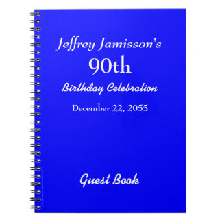 90th Birthday Party Guest Book Royal Blue Note Book