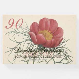 90th Birthday Party Peony Custom Guest Book