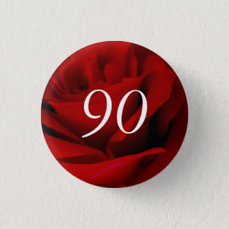90th Birthday Red Rose Party Favour Pin