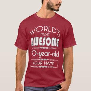90th Birthday Worlds Best Fabulous Dark Red Maroon T Shirt