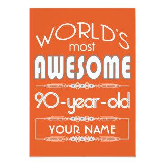 90th Birthday Worlds Best Fabulous Flame Orange 13 Cm X 18 Cm Invitation Card