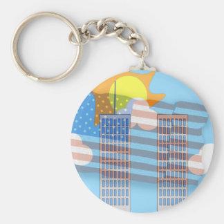 911 Tribute - Plain Basic Round Button Key Ring