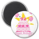 92 Year Old Birthday Cake 6 Cm Round Magnet