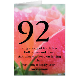 92nd Birthday Card