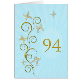 94th Birthday with golden butterflies Card