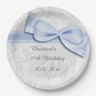 95th Birthday Blue Damask and Faux Bow 9 Inch Paper Plate