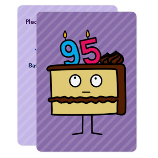 95th Birthday Cake with Candles 13 Cm X 18 Cm Invitation Card