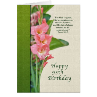 95th Birthday Card with Pink Gladiolus
