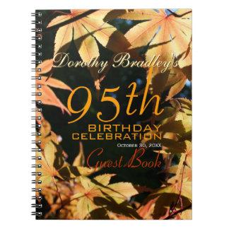 95th Birthday Celebration Autumn Custom Guest Book Spiral Note Books