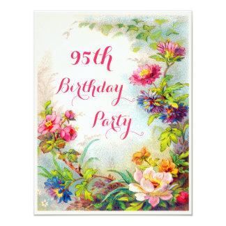 "95th Birthday Dahlias and Peonies Victorian Garden 4.25"" X 5.5"" Invitation Card"