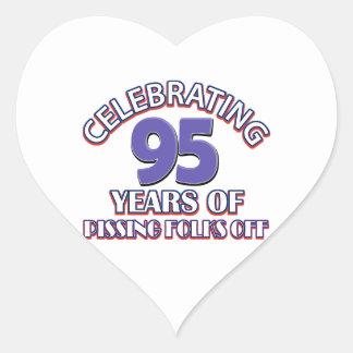 95th birthday designs heart sticker