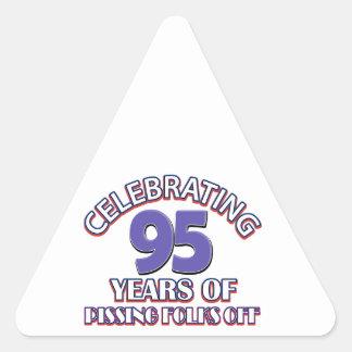 95th birthday designs triangle sticker