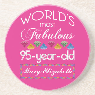 95th Birthday Most Fabulous Colorful Gems Pink Coaster