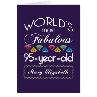 95th Birthday Most Fabulous Colorful Gems Purple Card