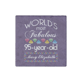95th Birthday Most Fabulous Colorful Gems Purple Stone Magnet