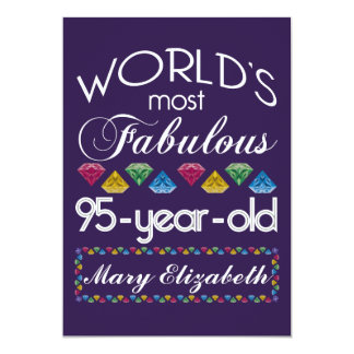 95th Birthday Most Fabulous Colorful Gems Purple 5x7 Paper Invitation Card