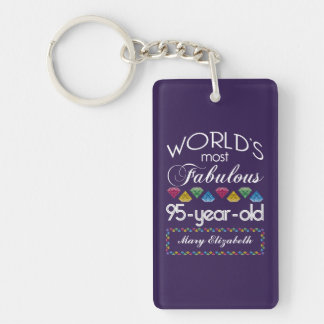 95th Birthday Most Fabulous Colorful Gems Purple Rectangle Acrylic Key Chain