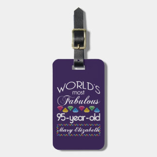 95th Birthday Most Fabulous Colorful Gems Purple Luggage Tag