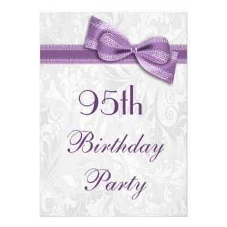 95th Birthday Party Damask and Faux Bow Invite