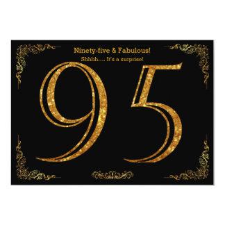 95th Birthday party,Gatsby styl,black gold glitter 13 Cm X 18 Cm Invitation Card