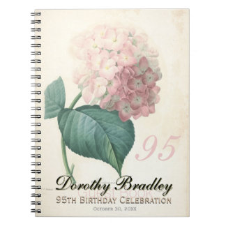 95th Birthday Party - Hydrangea Custom Guest Book Note Books