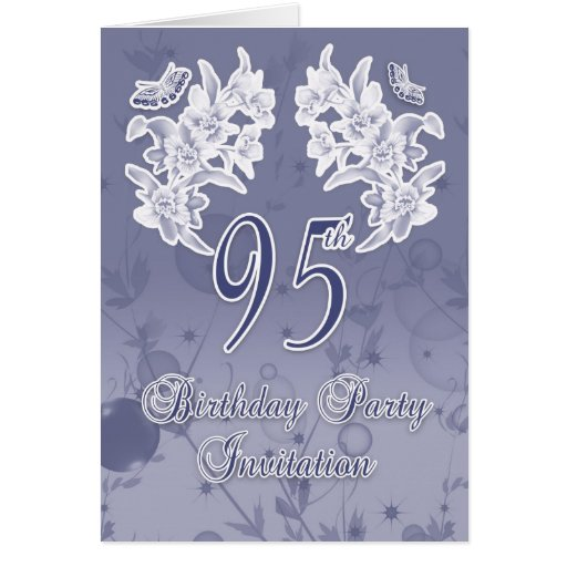 95th Birthday Party Invitation, Blue And White Flo Greeting Cards