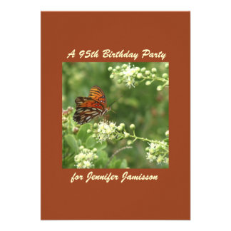95th Birthday Party Invitation Butterfly
