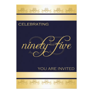 95th Birthday Party Invitation in Blue Gold