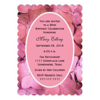 95th Birthday Party Invitation Scalloped Hydrangea Invitation
