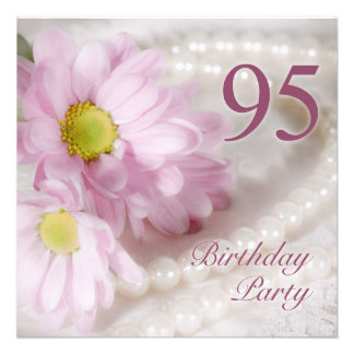 95th Birthday party invitation with daisies