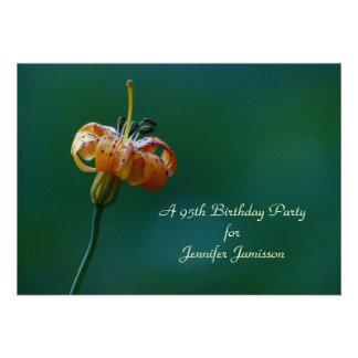 95th Birthday Party Invitation, Yellow Lily