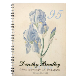 95th Birthday Party - Irises Custom Guest Book Spiral Notebooks