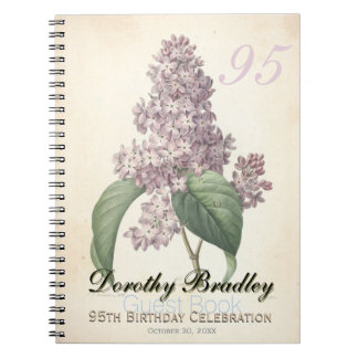 95th Birthday Party - Lilac Custom Guest Book Notebooks