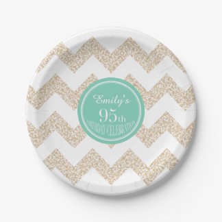 95th Birthday Party Paper Plates - Choose Color 7 Inch Paper Plate