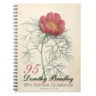 95th Birthday Party Peony Custom Guest Book Note Books