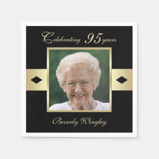 95th Birthday Party Photo on Black Paper Paper Napkin