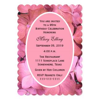 95th Birthday Party Pink Scalloped Hydrangeas 13 Cm X 18 Cm Invitation Card