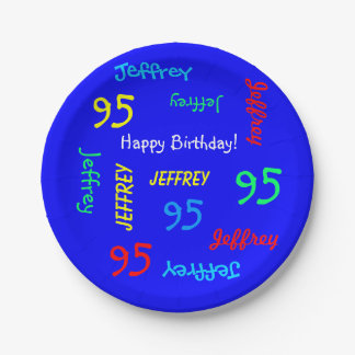 95th Birthday Party, Repeating Names, Royal Blue 7 Inch Paper Plate