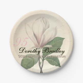 95th Birthday Party  Vintage Magnolia Paper Plates 7 Inch Paper Plate
