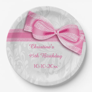 95th Birthday Pink Damask and Faux Bow 9 Inch Paper Plate