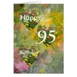 95th Birthday Pretty Green hearts Greeting Greeting Card