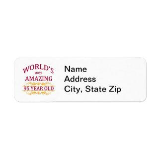 95th. Birthday Return Address Label