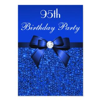 "95th Birthday Royal Blue Sequins Bow and Diamond 5"" X 7"" Invitation Card"
