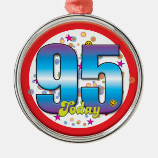 95th Birthday Today v2 Silver-Colored Round Decoration