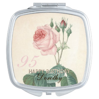 95th Birthday Vintage Rose Personalised Travel Mirror