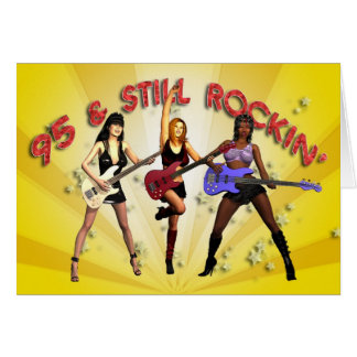 95th birthday with a girl band greeting card