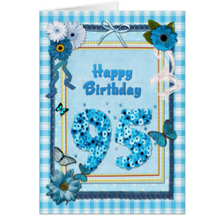 95th Birthday with a scrapbook effect Greeting Card