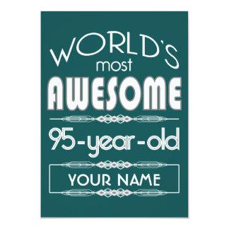 95th Birthday Worlds Best Fabulous Dark Green Fore 5x7 Paper Invitation Card